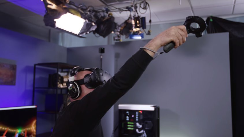 """MythBusters's Jamie Hyneman Tries Out NVIDIA VR Funhouse: """"That's More Fun Than the Real Thing"""""""