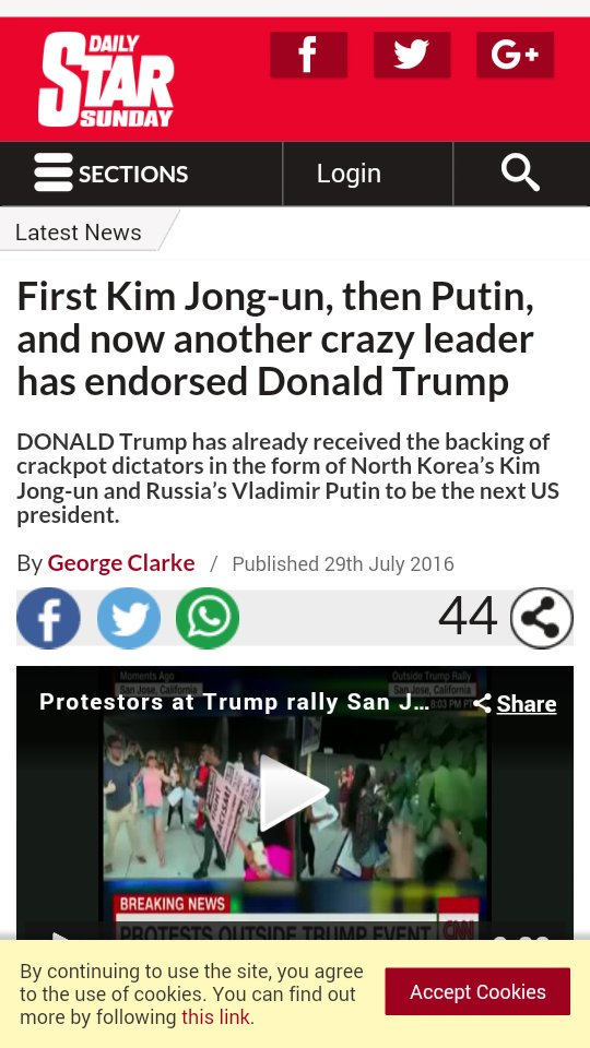 The British gossip tabloid, The Daily Star laughably claims that Putin, Mugabe, and Kim Jong-un endorse Trump. https://t.co/lVAEFJ81Of