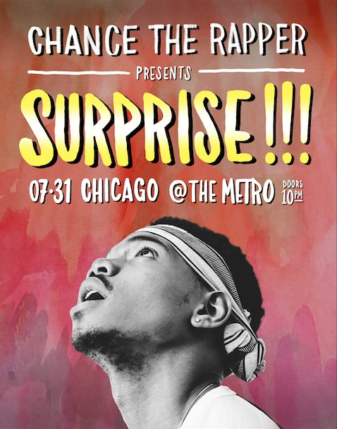 SURPRISE! @chancetherapper is playing TONIGHT! Tickets available NOW in our box office - no online sales! 18+ https://t.co/SEZhnFDAuc