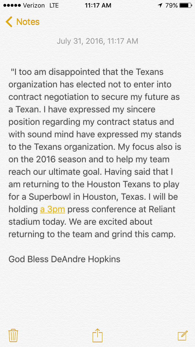 DeAndre Hopkins is returning to the team. Here's his statement. Press conference this afternoon. #Texans https://t.co/D12klQm4GL