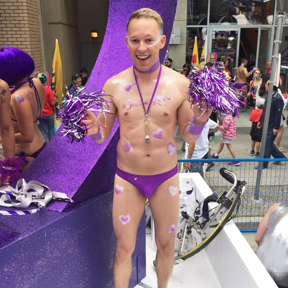 Ready to #ShareLove dancing on the @telus float in the @vancouverpride parade!