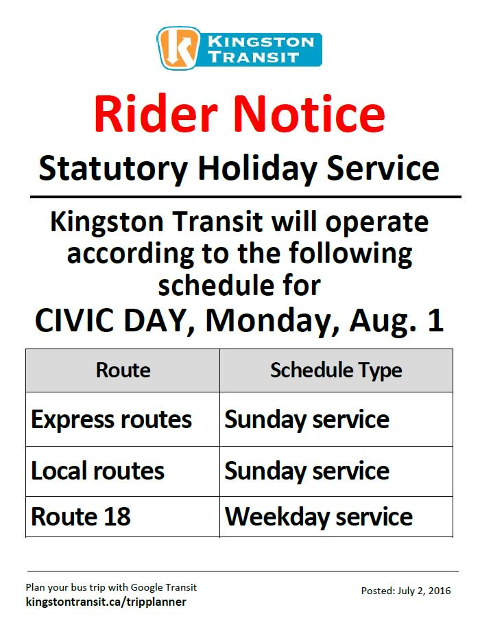 City Of Kingston On Twitter Kingston Transit Rider Notice Civic Holiday Means Some Routes Are On Sunday Schedule Https T Co Azr89nomig Ygk