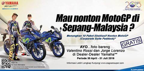 Hari ini terakhir untuk yang mau nonton MotoGP gratis. Yuk, ikutan #ZagoanSelfie sekarang!