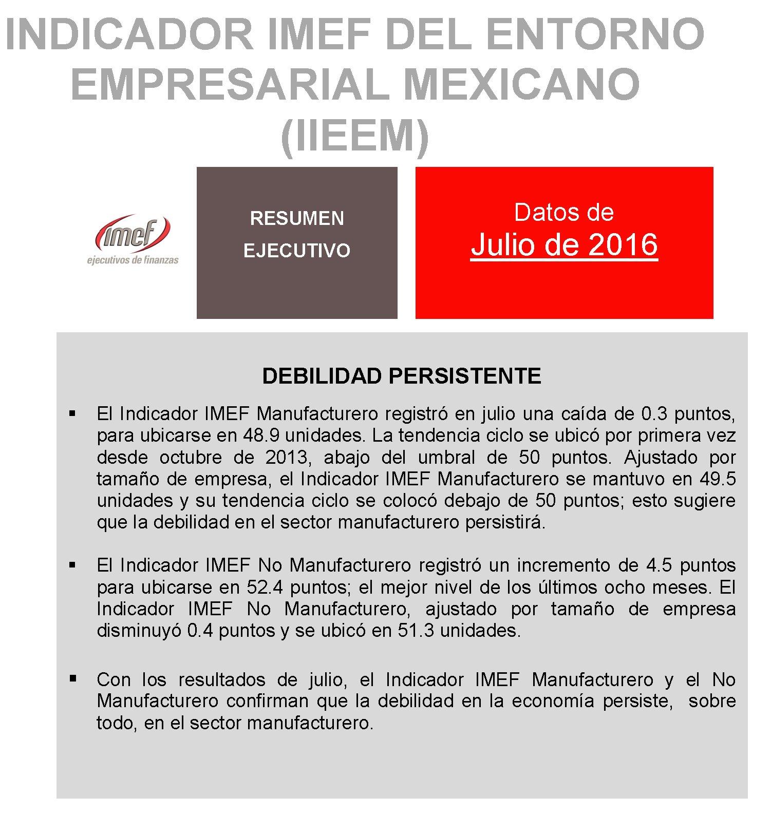 """""""Debilidad persistente"""", resultados del #IndicadorIMEF en julio: https://t.co/9KePytpE0J https://t.co/sMexnQiumR"""