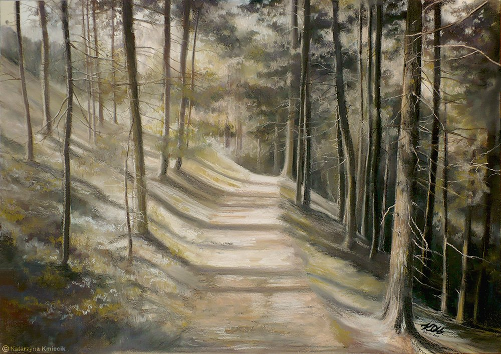 Soft pastel drawing of 'Forest Path' by Katarzyna Kmiecik