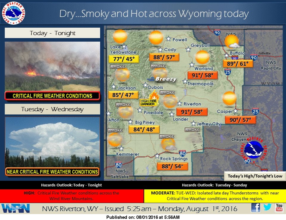 Hot/dry/smoky weather pattern thru wed  critical fire weather