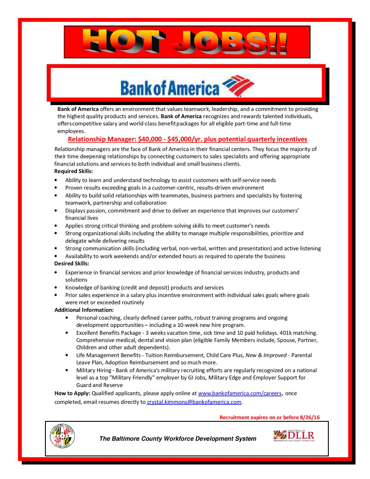 "Mayor's OED on Twitter: ""Now #Hiring! Bank of America is seeking a  Relationship Manager - $40,000-$45,000 per year. #BaltimoreJobs… """