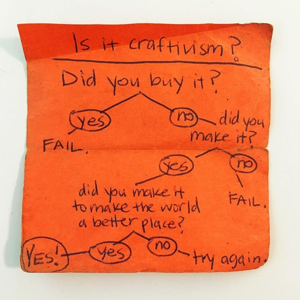 I found the official Is It Craftivism? flow chart! Ever wonder if something is craftivism?… https://t.co/e7Utw2MI8l https://t.co/pZa7Mtrbgo