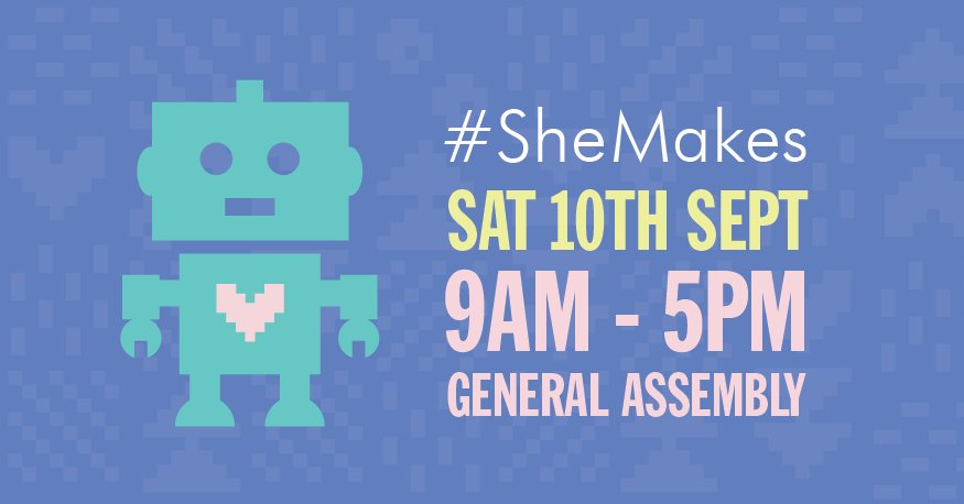 Come make cool robots with us! Join us for #SheMakes where you will have fun making things. https://t.co/WBG8bsL9ea https://t.co/GqGaPGCa4W