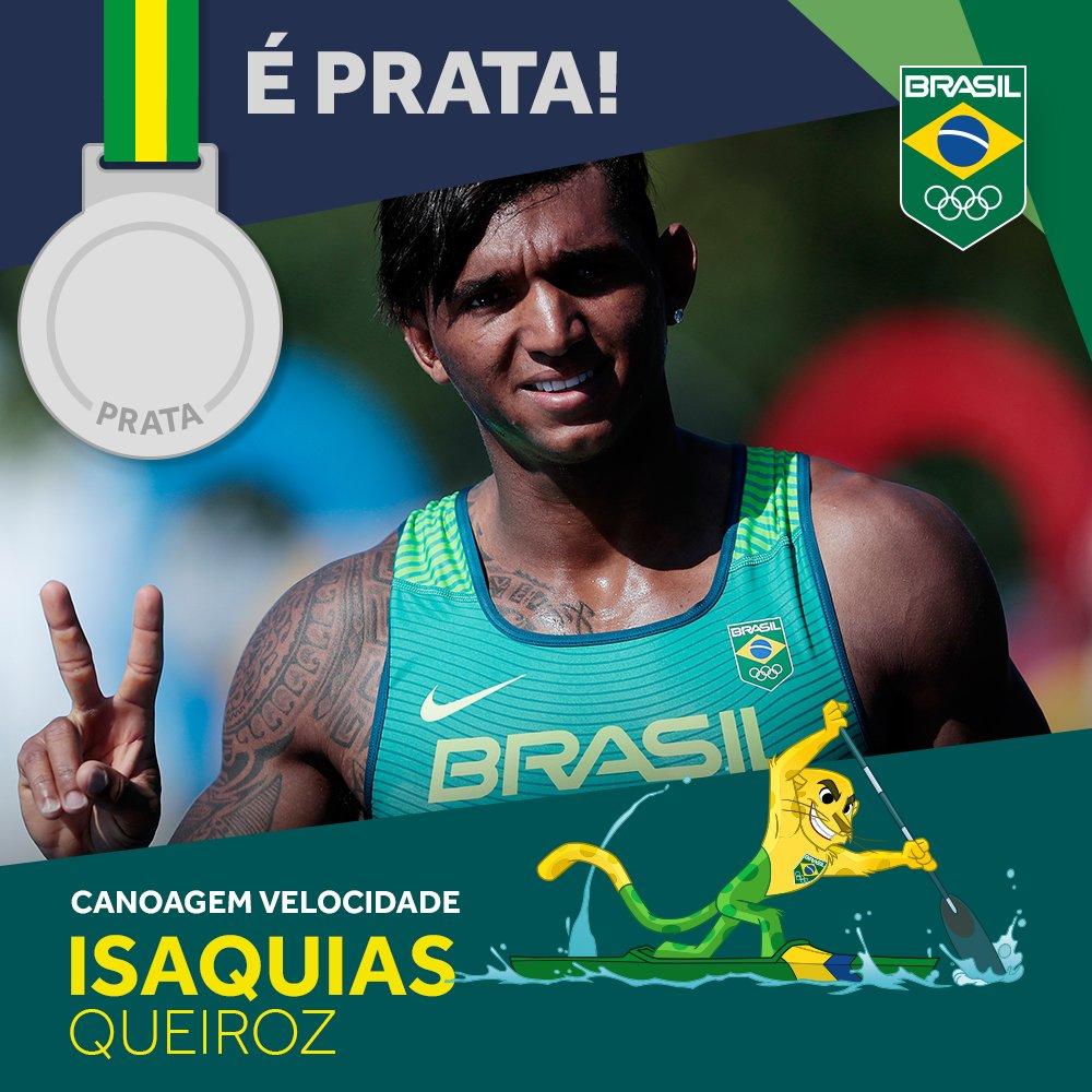 É #prata!! Isaquias Queiroz fica em 2º na #CanoagemVelocidade e faz história nos #JogosOlímpicos  #EuSouTimeBrasil
