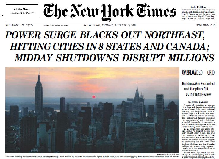 Image result for blackout hits northeast u.s. and canada