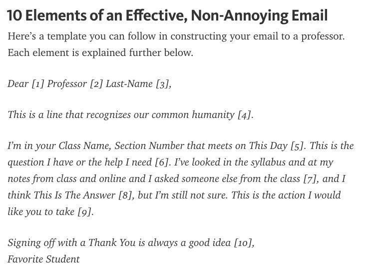 how to end an email to your professor