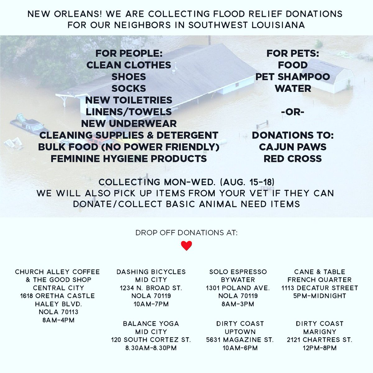 We are accepting donation for our neighbors impacted by the flooding down the road. Please #retweet https://t.co/K6N71mw1QX