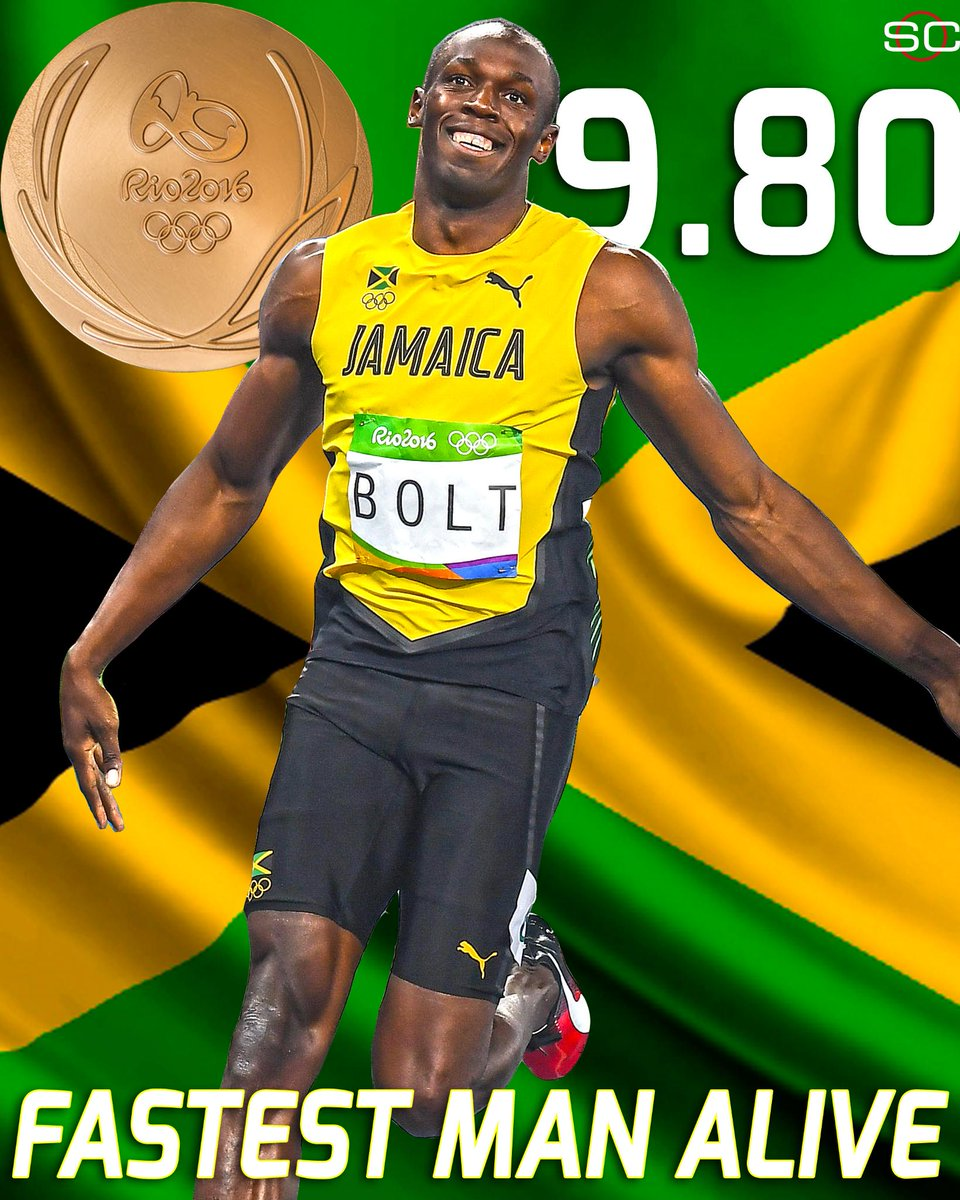 Usain Bolt does it again! He wins the 100m title for the 3rd straight Olympics with a time of 9.80.⚡️