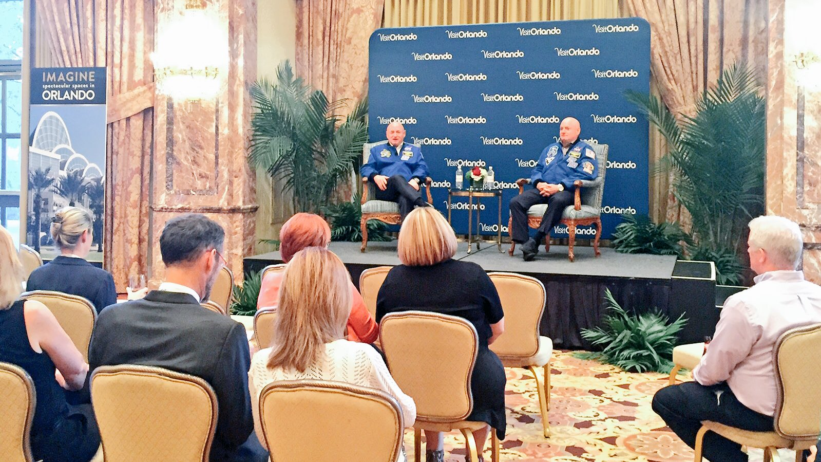 #ASAE16 guests of @VisitOrlando enjoying exclusive Q&A with Astronauts Scott & Mark Kelly. Thanks @KepplerSpeakers! https://t.co/odEpzoPUs0