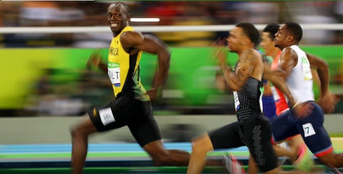 Such a great shot of Usain Bolt winning the men's 100m.  Photo by @cjspencois #FastestManAlive #Rio2016 https://t.co/CtAVYqTr43
