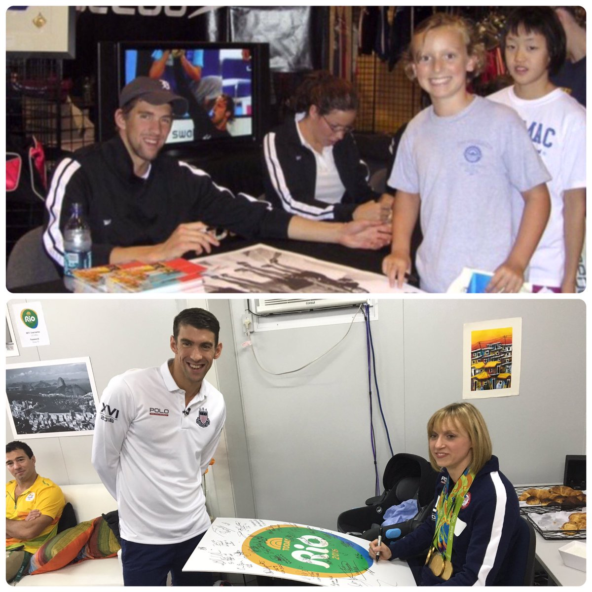 Vice-Versa: @katieledecky @MichaelPhelps re-create famous photo with opposite roles #riotoday #SwimUnited https://t.co/S06rkRkcTz