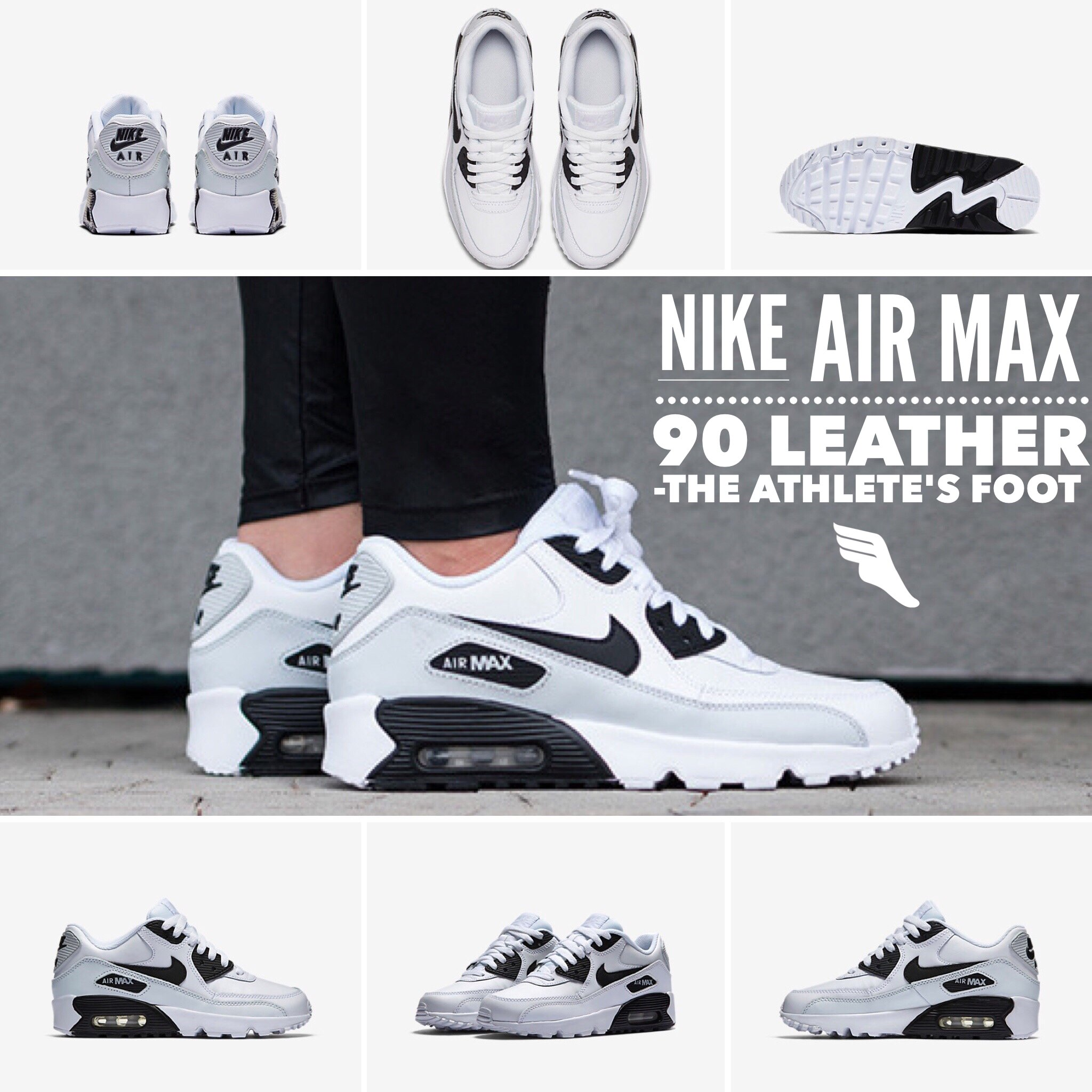 air max 90 white leather on feet