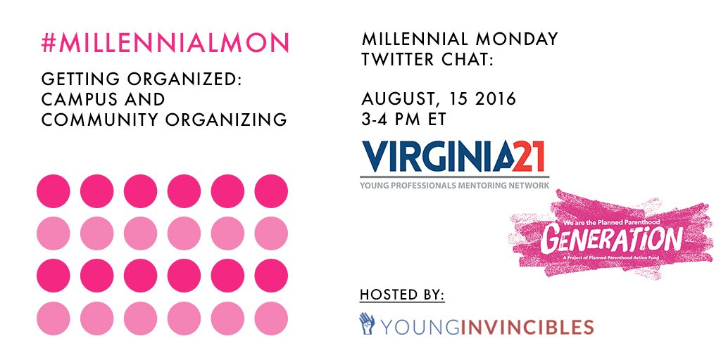 Welcome to #MillennialMon! Today's topic: Getting Organized: Campus and Community Organizing https://t.co/NOYB2UKKN1