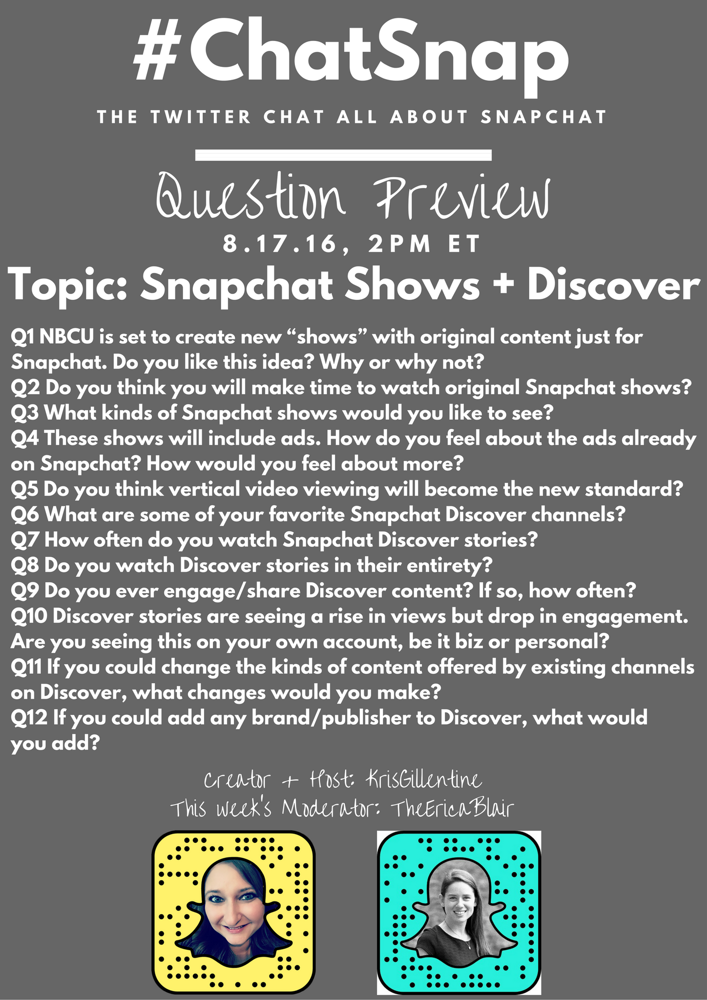 QUESTION PREVIEW for today's #ChatSnap. See you at 2pm ET (6pm GMT, 7pm UK) @TheEricaBlair https://t.co/roYQ6UEmnD