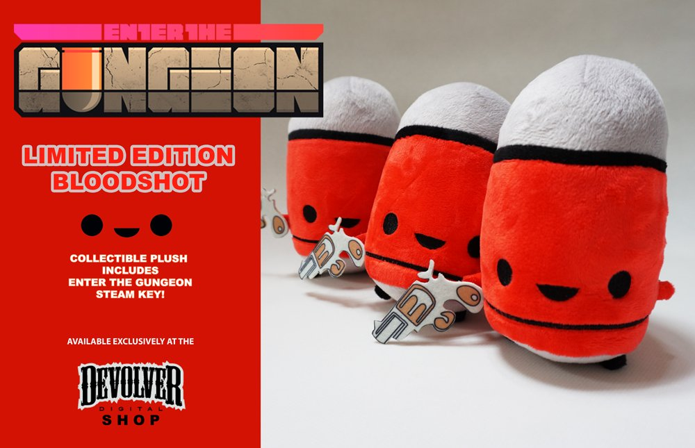 "Enter the Gungeon on Twitter: ""Limited Edition Bloodshot red bullet kin plushes are now ..."