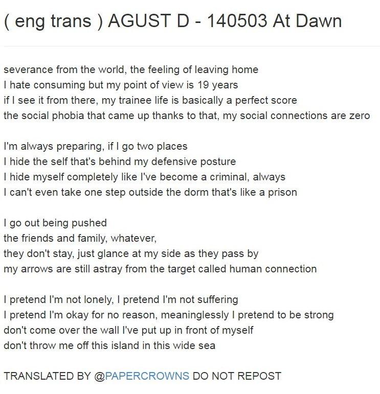 On Twitter Heres An Agust D Mixtape Lyrics Translation