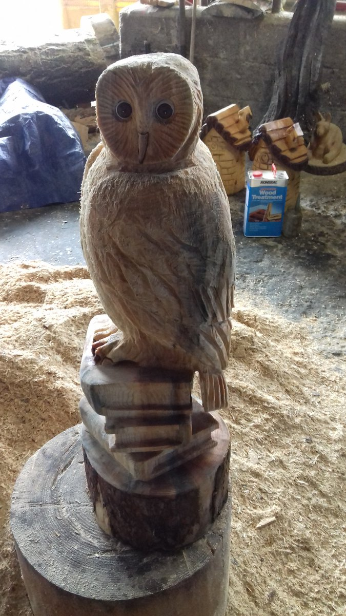 Hand made small natural chainsaw carved stump bear by parrish
