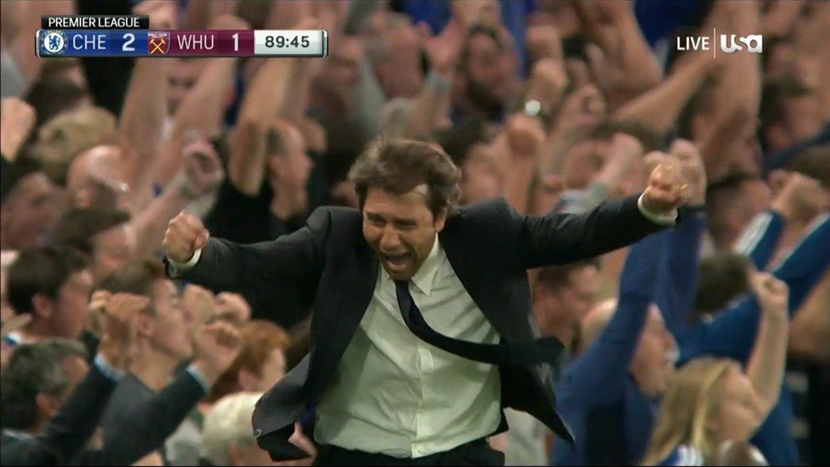 Conte festeggia il gol di Diego Costa all'ultimo minuto in Chelsea-West Ham