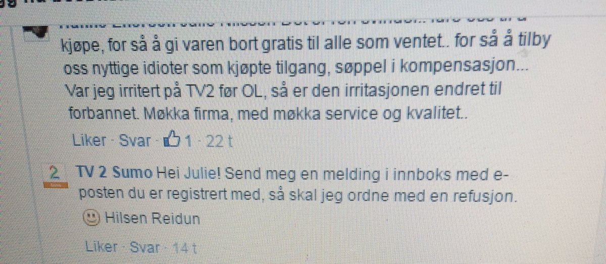Se galskapen, folkens! Skal hver eneste kunde sende en personlig melding til #TV2 #TV2sumo på FB for å få refusjon? https://t.co/64bWxaORMP