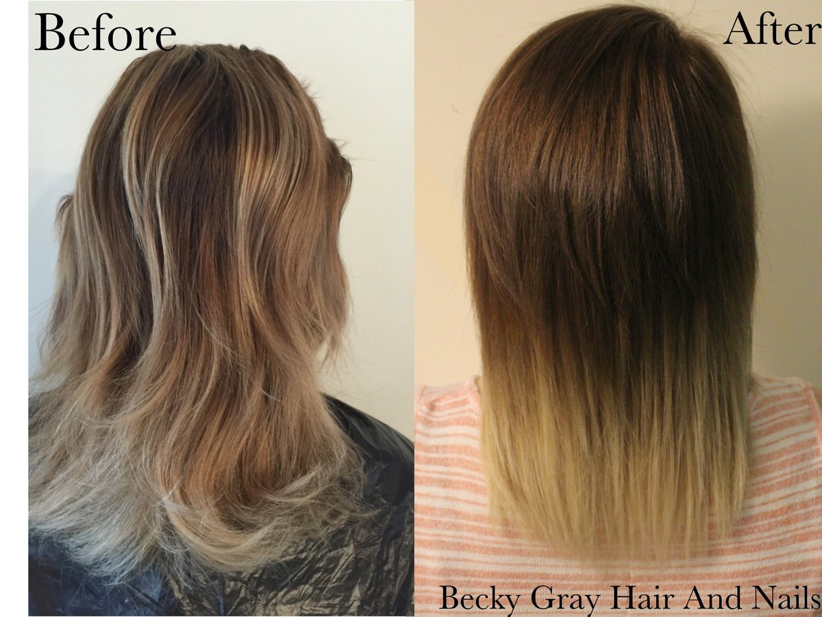 Beckys Hair And Nail On Twitter Balayage Ombre Before After