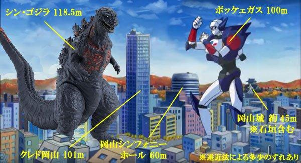 シン・ゴジラの大きさがシリーズ最大と言われてるけど、東京に住んでないから建物と比較してもいまいち大きさがピンとこない、なので今回のゴジラの大きさを岡山県民にわかりやすく表した画像がこちらです! https://t.co/SoBI7yP5O3