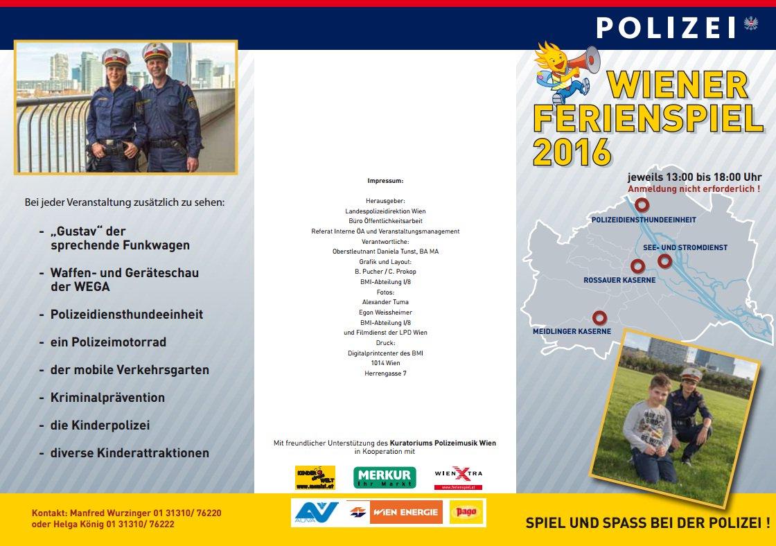 Polizei Wien On Twitter Wiener Ferienspiel 2016 Unter Mitwirkung