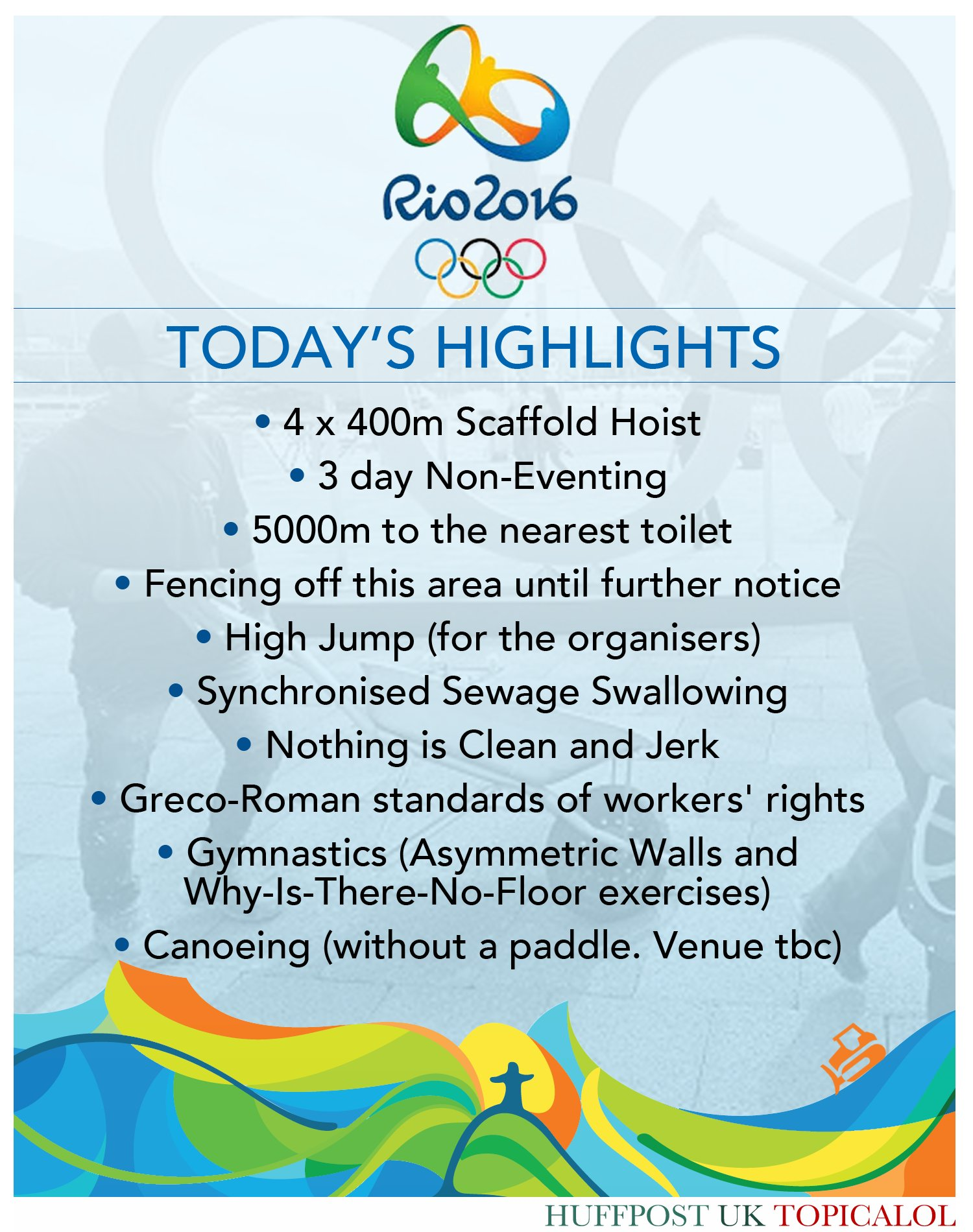 Can't wait for the first day of events at #Rio2016. (done for @huffpostukcom) https://t.co/w5FgAGPFKa