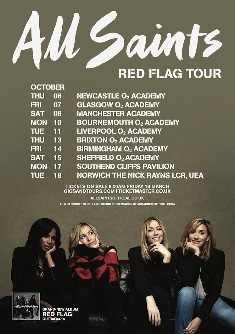 RT @AllSaintsOffic: Our #RedFlagTour this October is getting closer! Grab your tickets before they sell out https://t.co/qxdjRSWdDc 🚩 https…