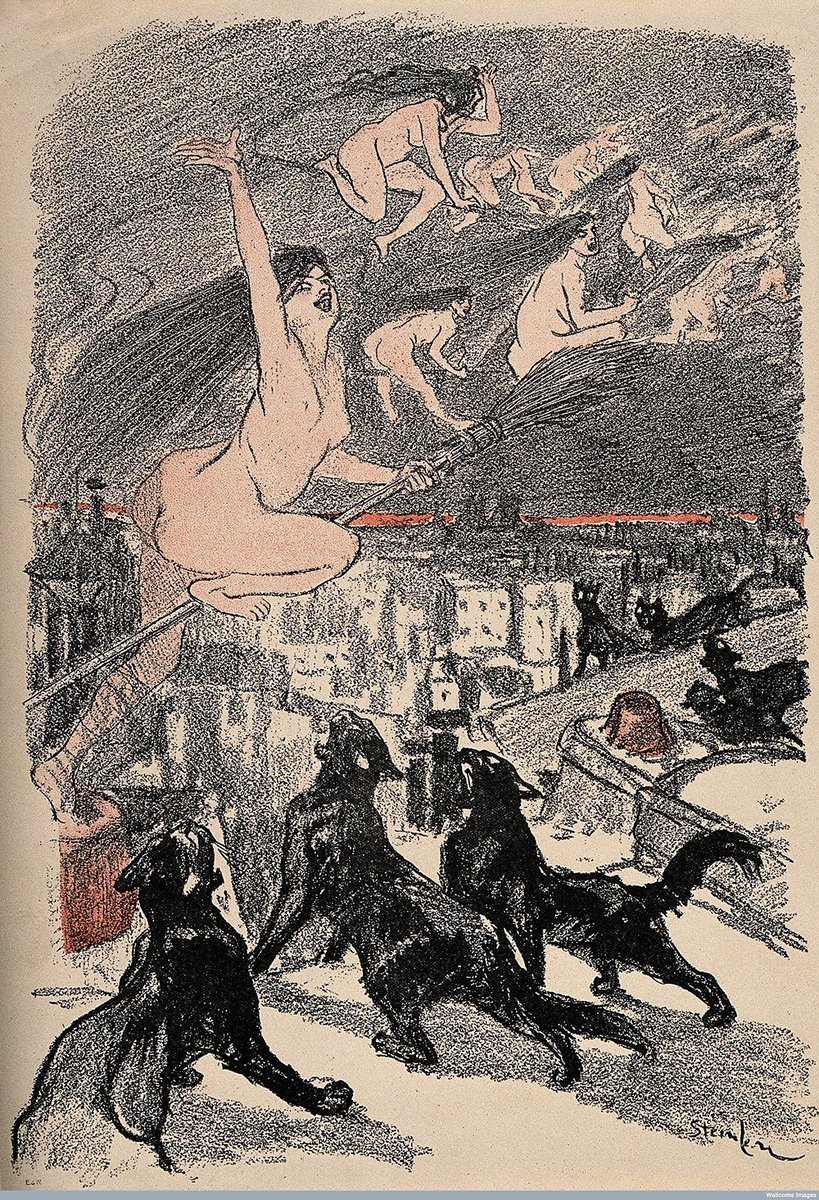 For #FolkloreThursday how about some black cats howling as naked witches ascend into the night over the city? https://t.co/P7PToAiAuU