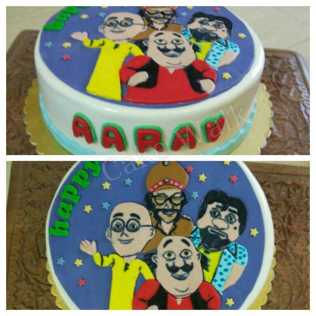Rinki Mukerjee on Twitter birthday cake based on motu patlu