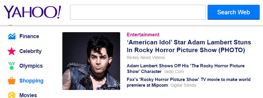 ohh Wow! I love seeing @adamlambert at the top of Yahoo Entertainment news today!