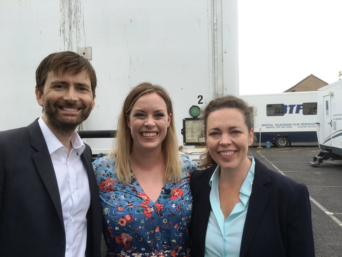 David Tennant and Olivia Colman with Sharon Marshall