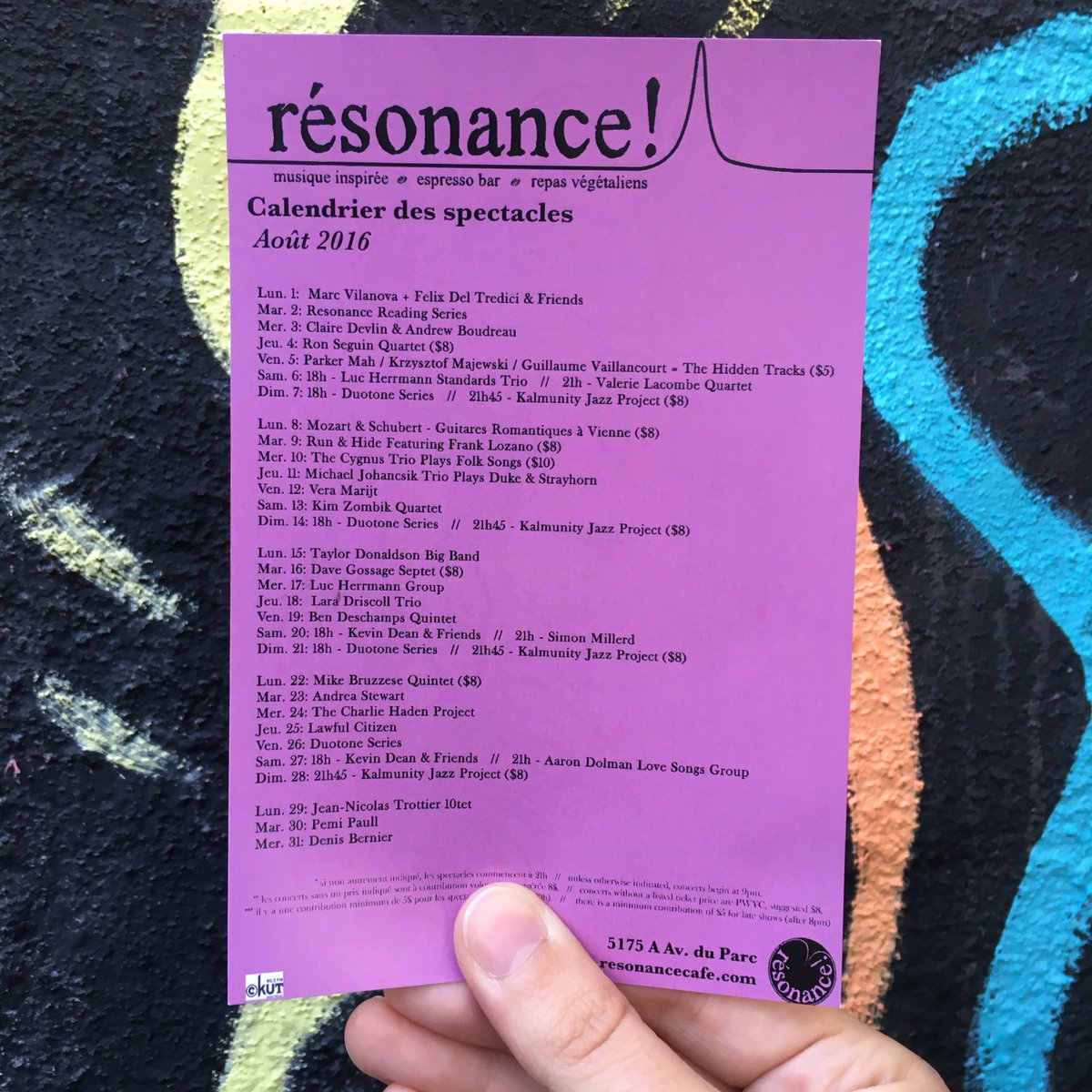 Calendrier Des Andrews.Resonance Cafe On Twitter August Schedule Is Up