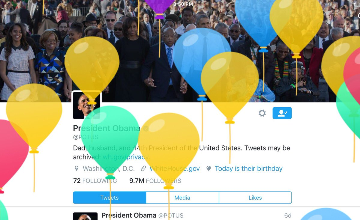 Love the balloons on Twitter for your birthday! Barack @POTUS Happy Birthday! You make #America #Proud #USA