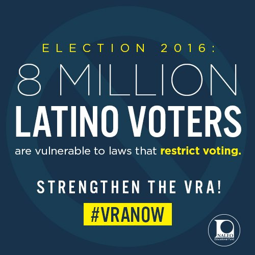 8 million Latino voters are vulnerable to laws that restrict voting. Protect all voters! #VRAchat https://t.co/2aZ88zkCxj