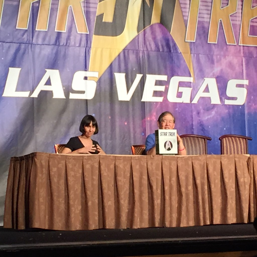Denise and @MikeOkuda talking about the new edition of the Star Trek encyclopedia! #stlv50 https://t.co/Jvq3ZuYcXz