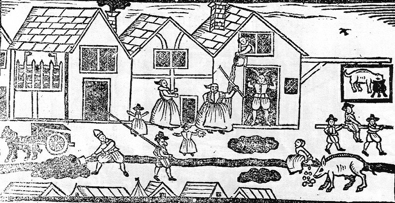 As a #seriousacademic I'm wasting time on Twitter sharing a woodcut of a woman relieving herself in the street. https://t.co/2f1DKrUsH9