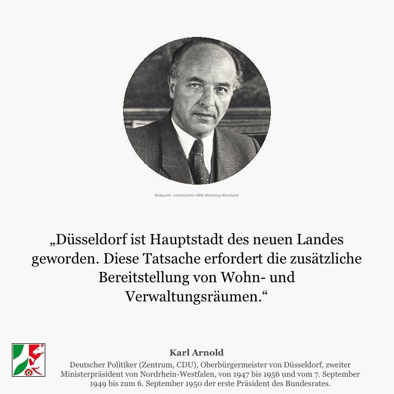 Der Oberbürgermeister Karl Arnold erklärt zur Erennung von #Düsseldorf zur Landeshauptstadt von #NRW. @Duesseldorf https://t.co/OEbEiKPdHN