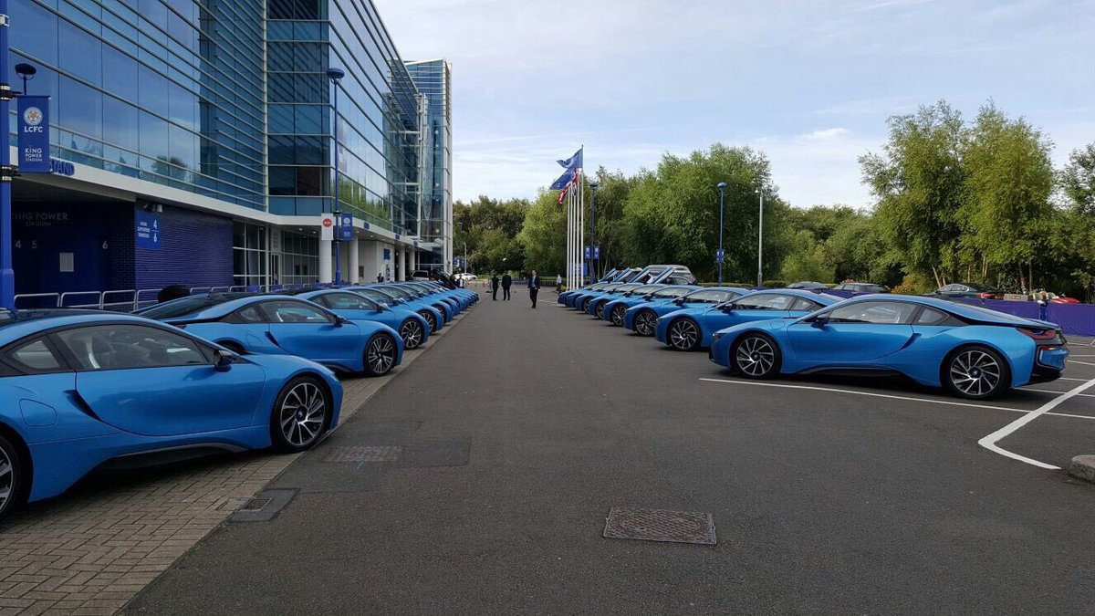 19 BMW i8 ready for the players following last season's triumph. What a chairman.  U n b e l i e v a b l e.  #LCFC