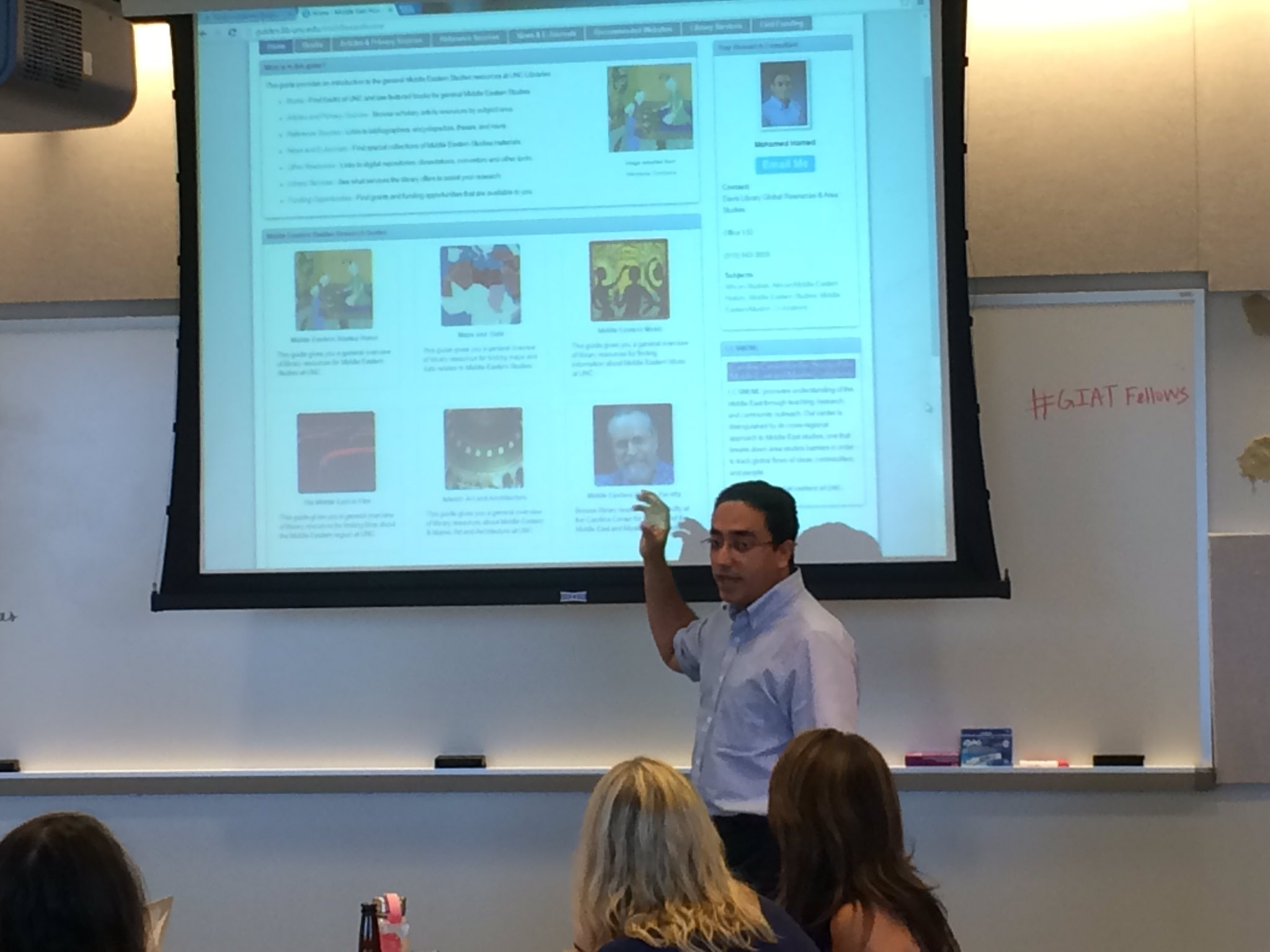 Mohammed Hamed sharing  @UNCLibrary's resources with our #GIATFellows https://t.co/O0NCURGLWj