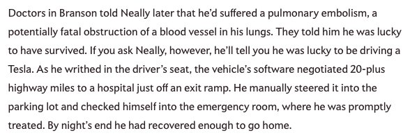 A man suffered a pulmonary embolism at the wheel—and his Tesla drove him to the hospital. https://t.co/0BrDBQizlk https://t.co/rTc2HjstSW