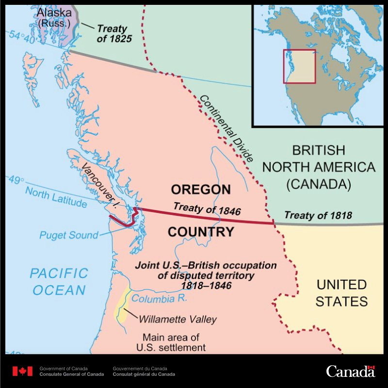 Otd In 1846 The Oregon Treaty Established The 49th Parallel As The Border Between Canada And The Us In The West Pic Twitter Com Sxivtc4mab