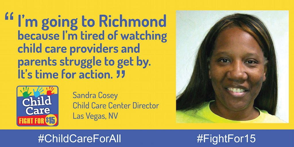 Sandra is going to the #FightFor15 convention Friday because families need our support. #ChildCareForAll https://t.co/P8gO3hVjor
