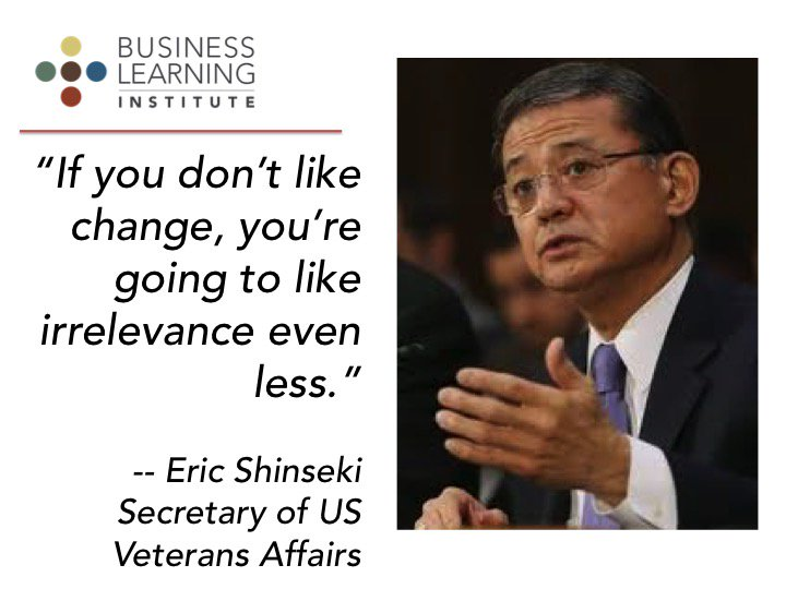 If you don't like change, you're going to like irrelevance even less - Col Shinseki #AICPA_EDGE https://t.co/BJlWClWlMH